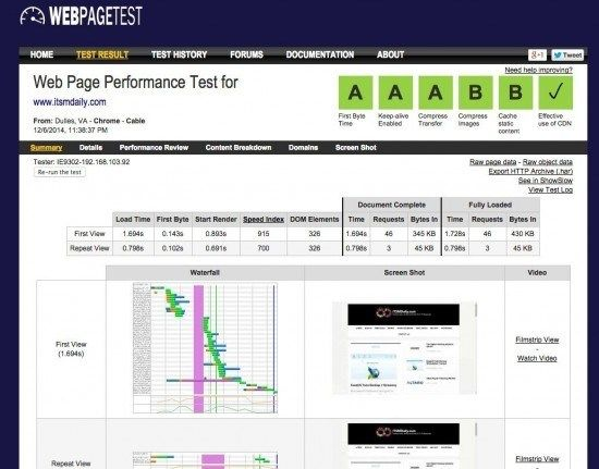 website speed test tools webpagetest