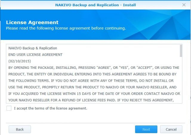 install-nakivo-synology-package-center-license-agreement