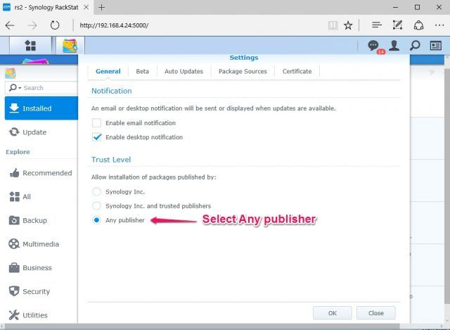 install-nakivo-synology-package-center-settings-any-publisher