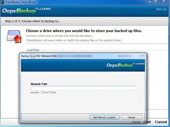 oops backup shared drive