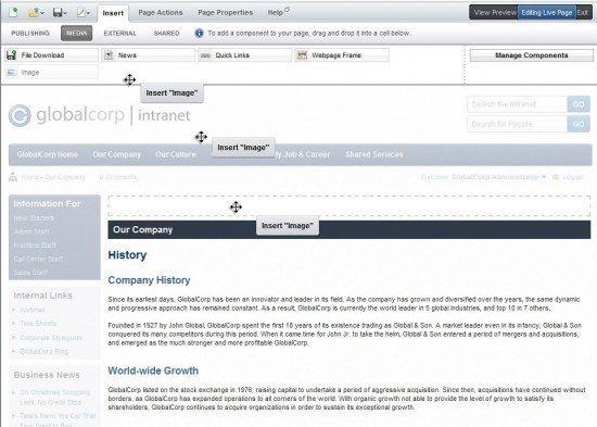 intranet dashboard editing site