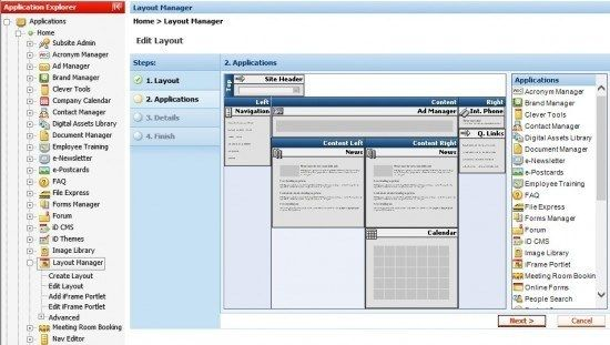 intranet dashboard layout manager