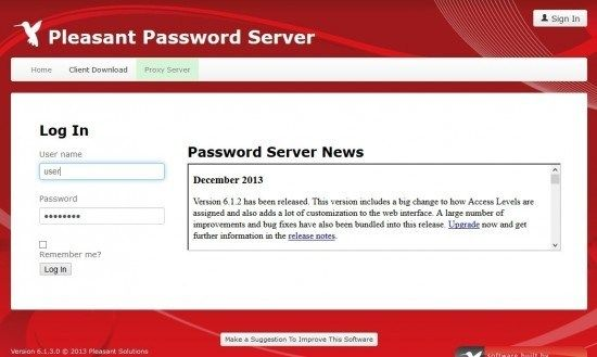 user-log-in Pleasant Password Server review