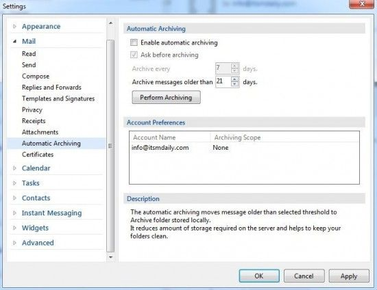 Outlook alternative with Exchange support emclient-archiving