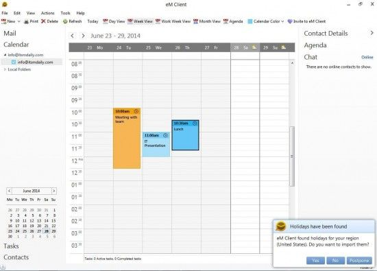 Outlook alternative with Exchange support emclient-calendar