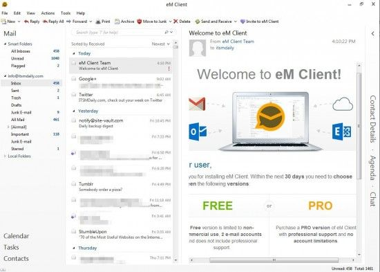 Outlook alternative with Exchange support emclient-email