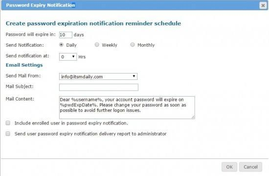 lepide password expiry notification
