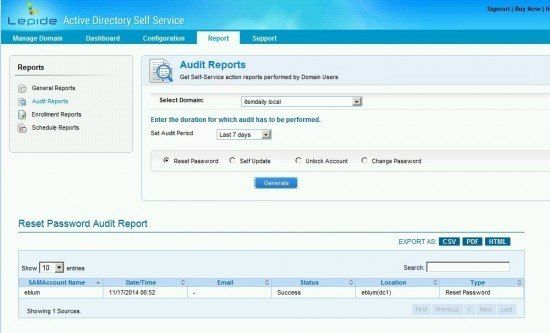 lepide self service reporting