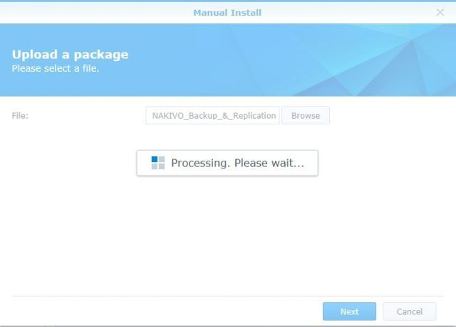 install-nakivo-synology-package-center-select-installation-file-processing