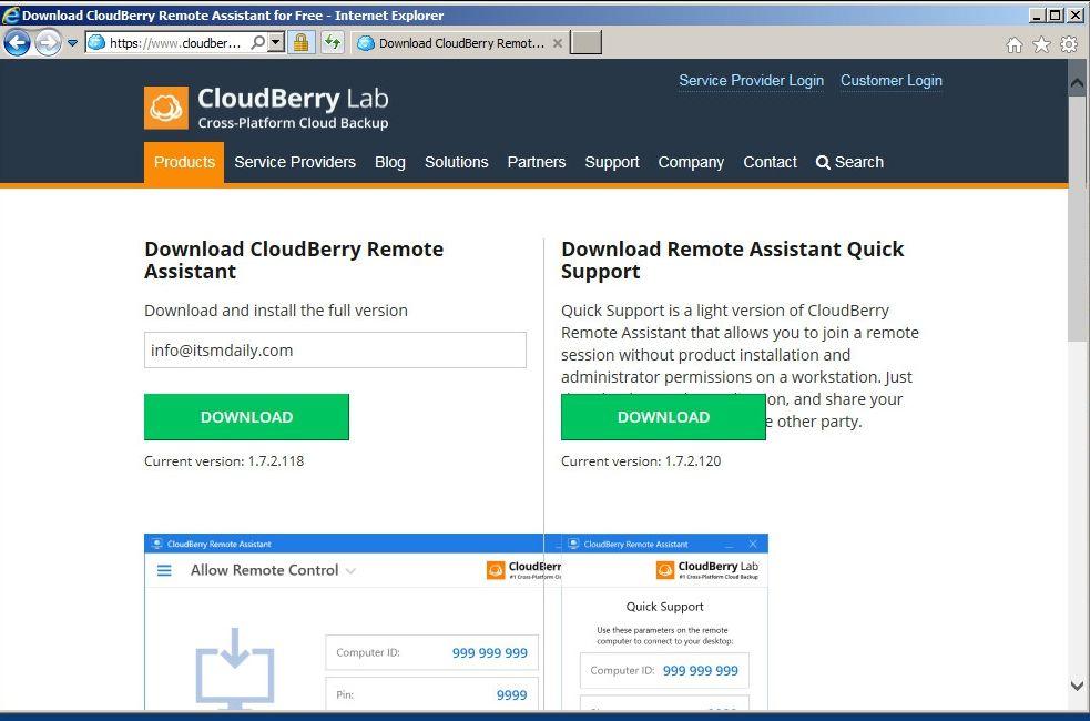 CloudBerry Remote Assistant - ITSMDaily com